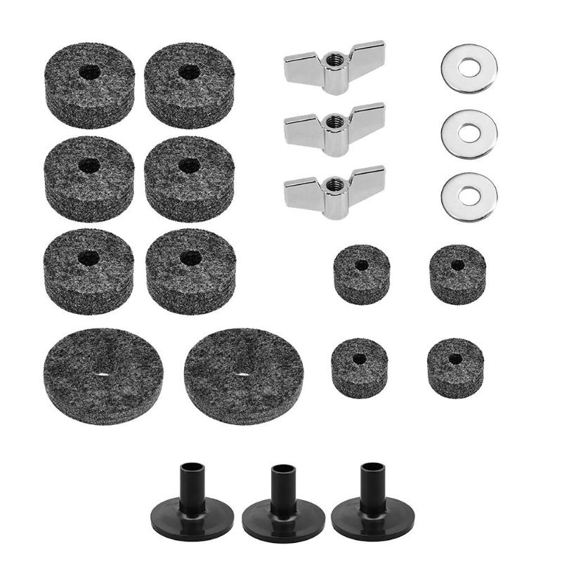 21pcs/set Drum Felt Pads Plastic Casing Sleeve Improving Performance Of Radium Films Metal Butterfly Nuts Gasket Kits