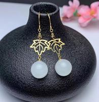 Natural White jade gem drop earrings 18k yellow gold natural gemstone earrings precious Leaves women office gift fine jewelry