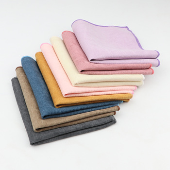 Solid Soft Microsuede Handkerchiefs Woven White Pink Red Blue Pocket Square Mens Casual Square Pockets Handkerchief Towels