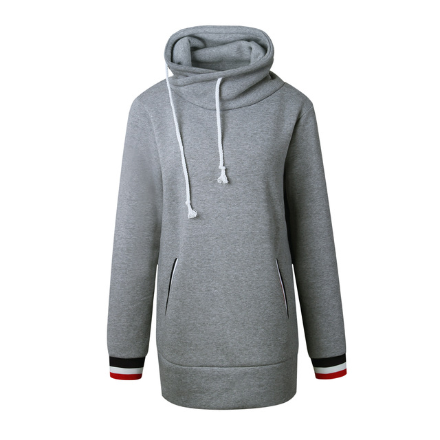Winter Warm Turtleneck Collar Harajuku Hoodies Women Long Sleeve Drawstring Sweatshirt With Pockets Moleton Feminino Inverno Rz*