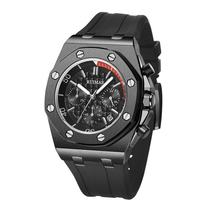 Stainless Steel Military Sport Watch for Mens 3 Eyes Silicone Starp Quartz Clock