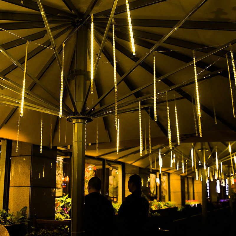 Подключаемый 30 см 50 см 80 см 8 трубок SMD Метеоритный дождь Дождь светодиодный струнный свет водонепроницаемый для дома на открытом воздухе Новогодняя Рождественская елка