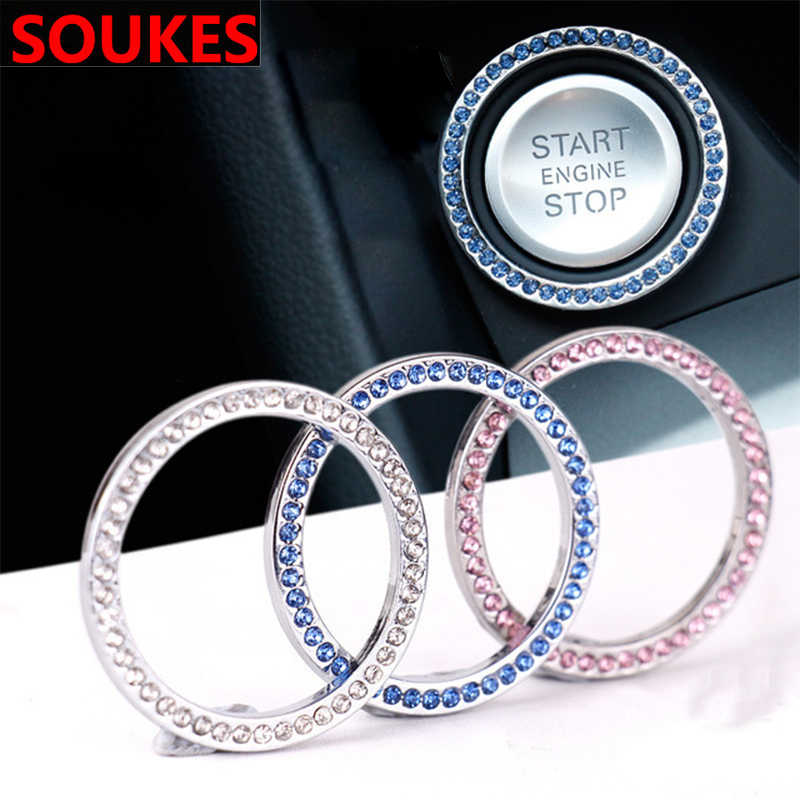 Diamant Auto start stop taste Schlüssel Ring Dekorative Aufkleber Für BMW E46 E39 X5 E53 X6 Mini Cooper Audi A4 b6 TT Ford Fiesta Kuga