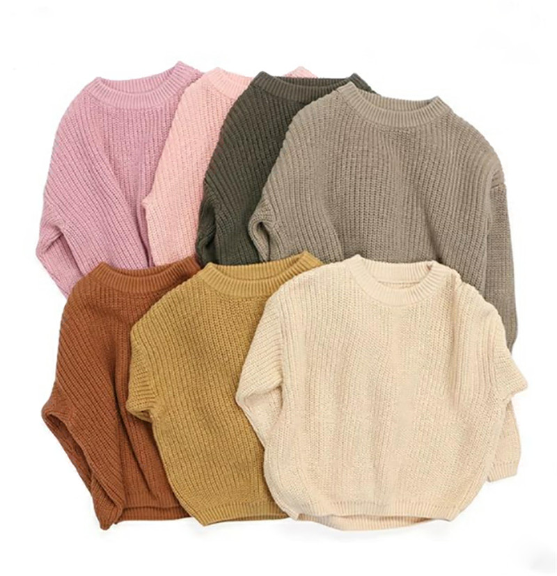 Newest Newborn Baby Girl Boy Knitted Long Sleeve Autumn Winter Sweater Solid Loose Pullover Casual Tops Kids Clothes 9M 5Y