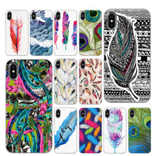 FEATHER Forest กรณี TPU สีดำสำหรับ iPhone 5 5S 6 6 S 7 8 PLUS X XS XR 11 PRO MAX(China)