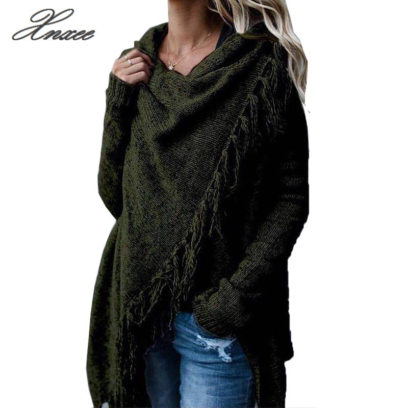 Xnxee Women Tassel Knitted Sweater Poncho Casual Stripe Irregular Loose Cardigan Cape Coat Tops Autumn Winter in Cardigans from Women 39 s Clothing
