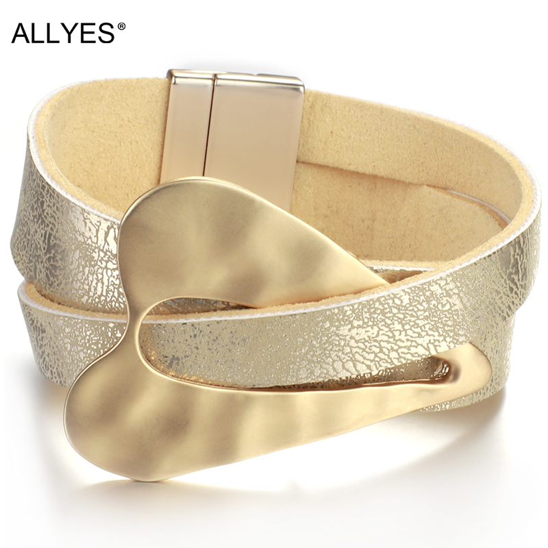 ALLYES Champagne gold Leather Bracelet for Women Fashion 2020 Magnetic buckle Heart Charm Wide Bracelets Female Jewelry(China)