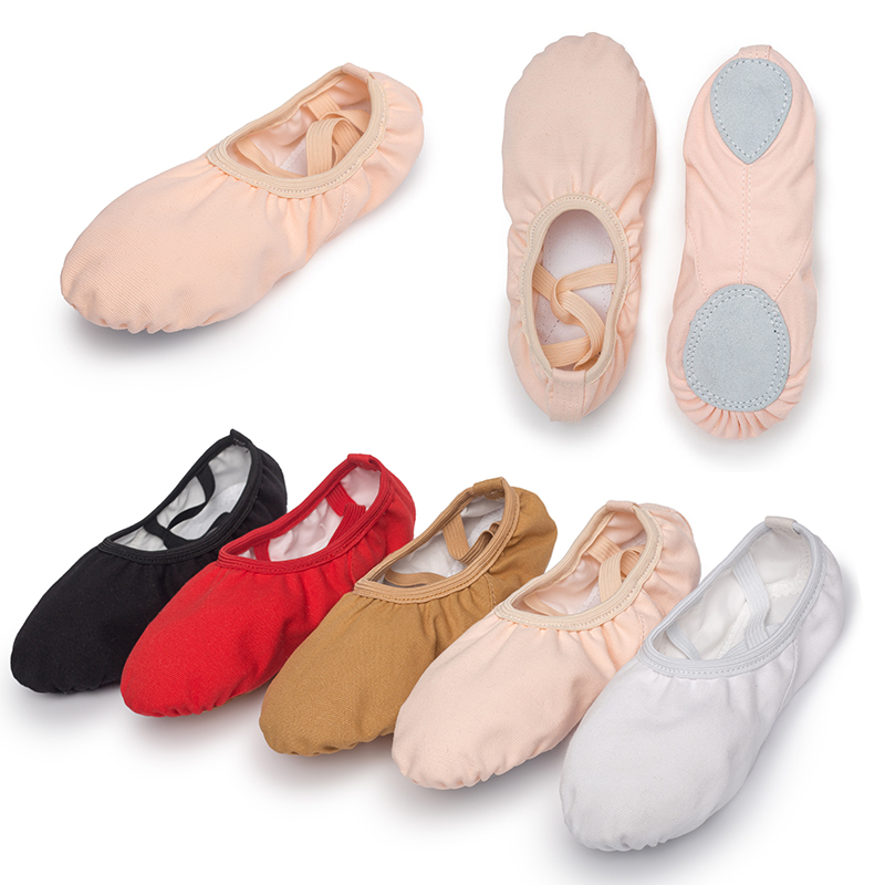 USHINE Quality Professional Children Dance Slippers Adult  Canvas Soft Sole Yoga Gym Ballet Shoes Girls Woman Man Ballerina