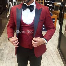 Latest Coat Pant Designs Men Suits 2019 Formal Groom Pattern Burgundy Suit Slim Fit Business Mens Tuxedo Wedding Suit For Men(China)