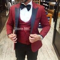 Latest Coat Pant Designs Men Suits 2019 Formal Groom Pattern Burgundy Suit Slim Fit Business Mens Tuxedo Wedding Suit For Men