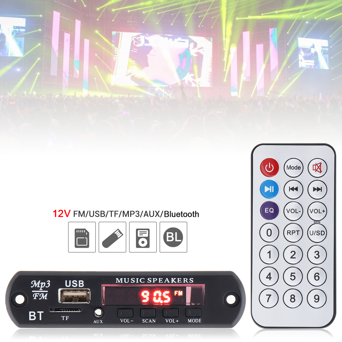 12V Plug-in Card Audio Lossless Bluetooth MP3 Decoder With Color Flash Screen Support USB / SD / AUX For Family Car/DVD