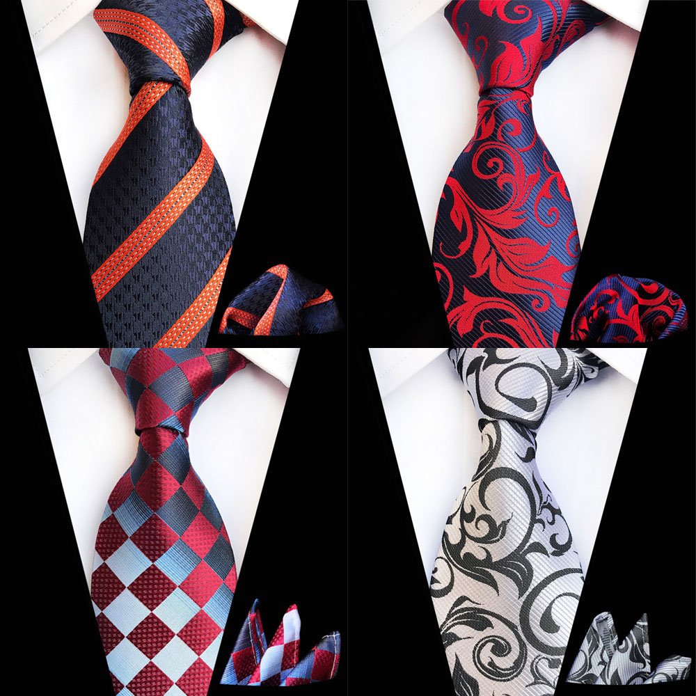 Ricnais Fashion 8cm Men's Tie Set Red Navy Silk Pocket Square Necktie Suit Business Wedding Handkerchief Neck Ties Accessories