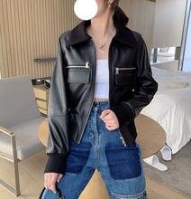 Женская новая модная куртка из натуральной овечьей кожи g37