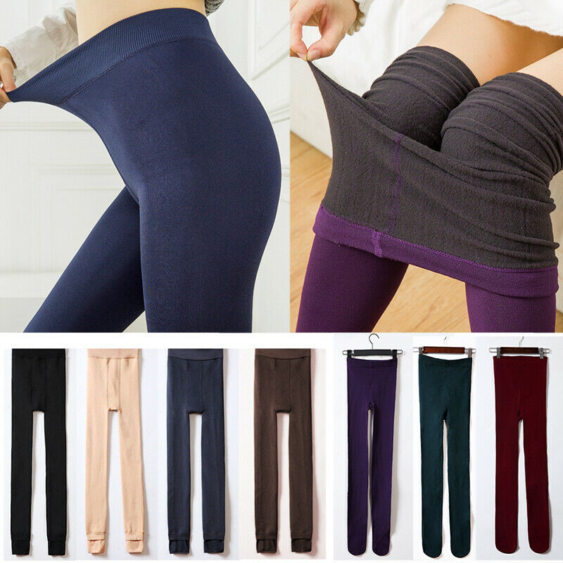 WOMEN FLEECE LINED THERMAL THICK SOLID WINTER FOOTLESS WARM LEGGINGS