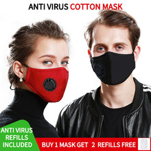 1Pcs Kpop Cotton Black Mask Mouth Face Mask Anti PM2.5 Dust Mask with 2pcs Activated Carbon Filter korean Mask Fabric Face Mask(China)