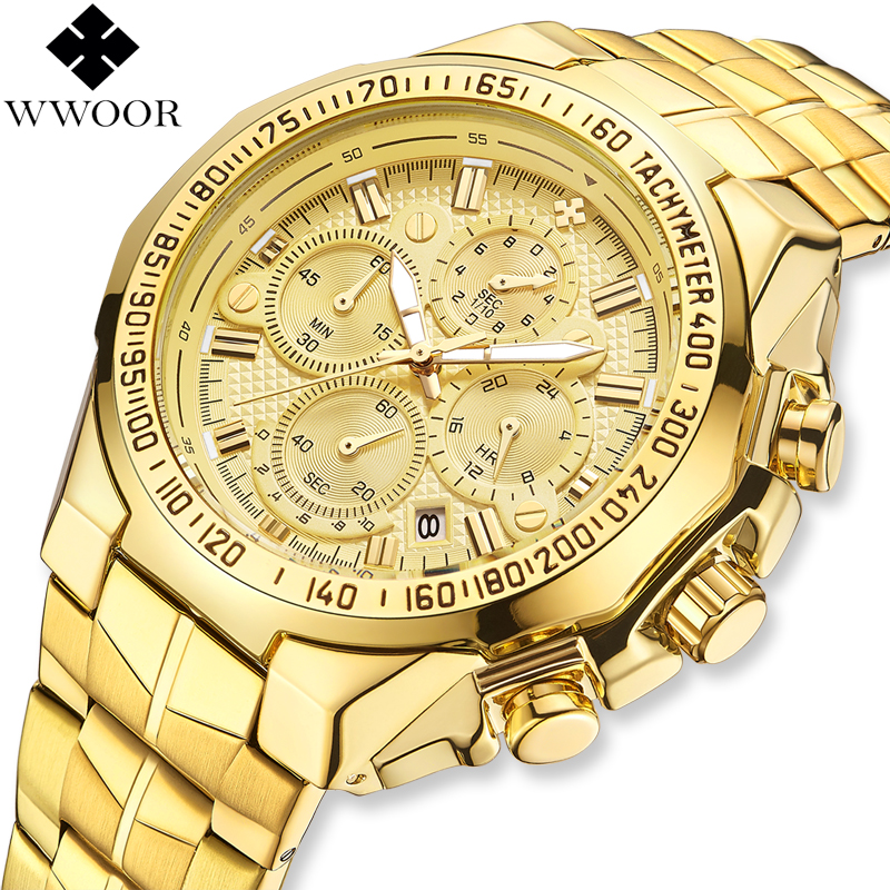 2019 Top Brand WWOOR Luxury Mens Watches Gold Quartz Men Watch Business Chronograph Male Wrist Watch Man Clock Relogio Masculino