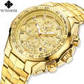 2019 Top marka WWOOR luksusowe męskie zegarki złoty zegarek kwarcowy mężczyzna zegarka biznes chronografu mężczyzna zegarek na rękę mężczyzna zegar Relogio Masculino