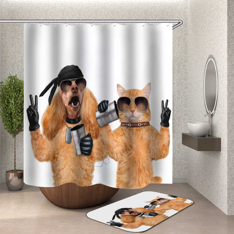 2019 funny shower curtains bath curtain home decor waterproof shower curtains cat dog 3d bathroom curtain or mat