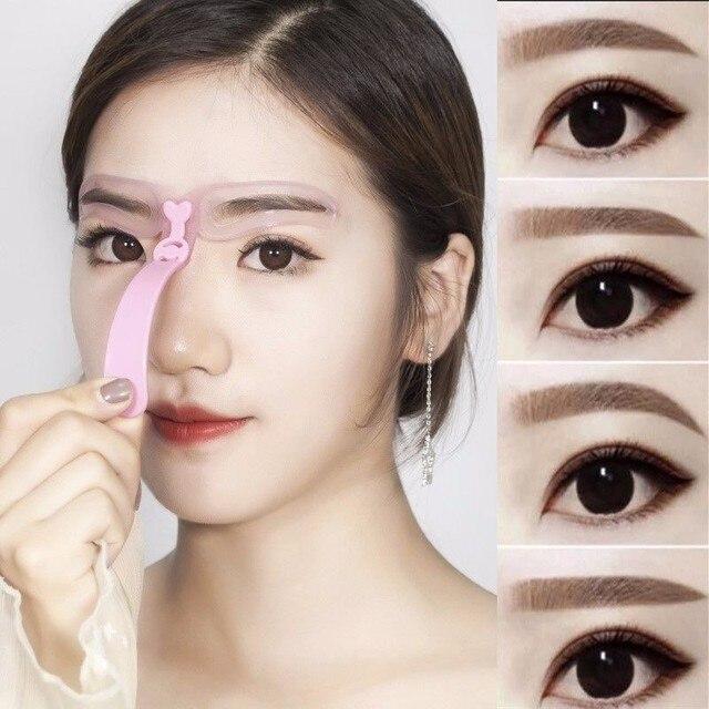 4Pcs/Set Eyebrow Stencil Durable Eyebrow Ruler Portable Eyebrow Template Professional Eyebrow Shaping Natural Eyebrow Card