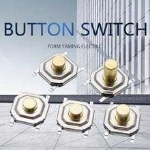 100 pçs/lote Tact Switch Botão 4 Pinos de Cabeça de Metal 4*4*2.5 milímetros Quatro Pés