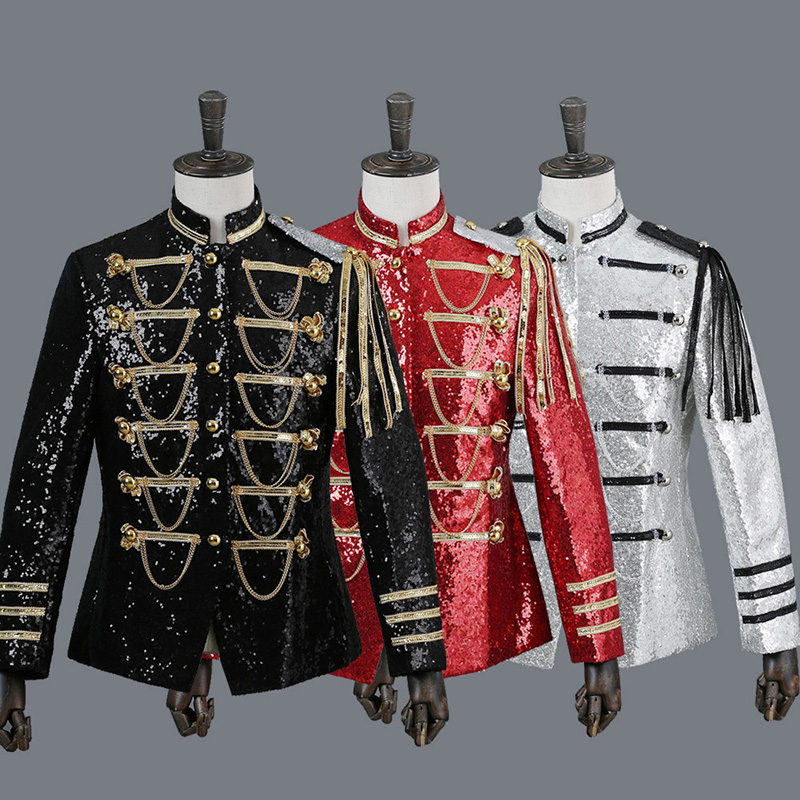 Men Sequin Military Army Jacket Artillery Drummer Steampunk Retro Top Suit