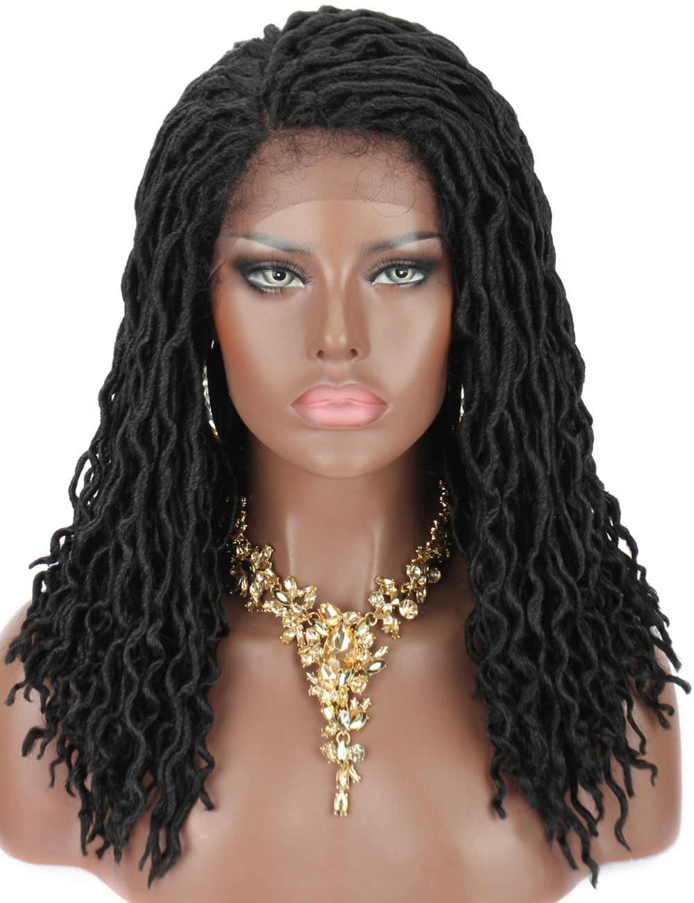 Kalyss 18 Inches Short Braided Wigs For Black Women Cornrow Braids Lace Wigs Synthetic Lace Front Wig Baby Hair Faux Locs Wig