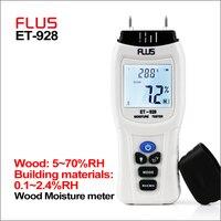 FLUS Portátil Ferramentas de Madeira Digital Madeira Medidor De Umidade de Água Tester Termômetro Higrômetro 0 ~ 99.9% Medidor de Umidade da Madeira