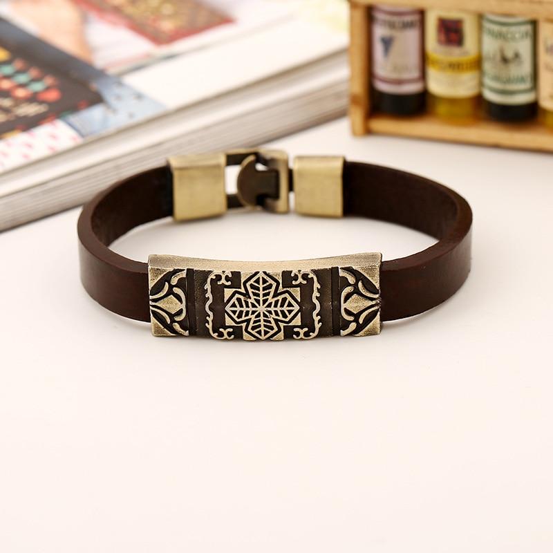 H07c054d3064840bf911bdf5baa05326c4 - Vintage Retro Cross Brown Genuine Leather Cuff Bracelet Wristbands Metal Bronze Charm Bangle Wrap Women Men Punk Fashion Jewelry