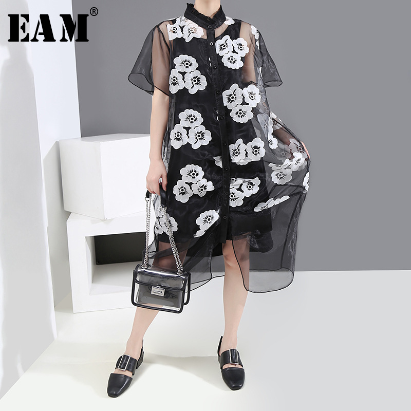 [EAM] Women Big Size Pattern Printed Mesh Two Piece Dress New Stand Collar Short Sleeve Loose Fashion Spring Summer 2020 1U116