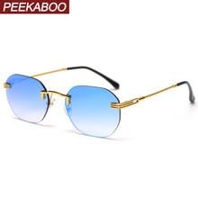 Peekaboo randlose sonnenbrille männer platz spiegel blau rot grün rahmenlose retro sonnenbrille für frauen metall gold uv400 hohe qualität