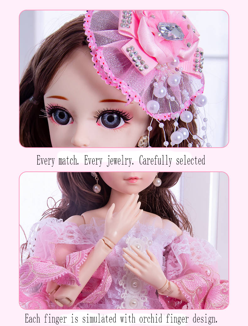60cm Fashion Girl Dolls Large Original Handmade 1/3 Doll Full Set 15 Jointed Doll Girls Toys for Children Kids Gif Fashion Doll