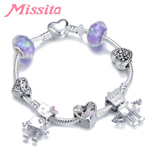 MISSITA Bella Robot Series Charm Bracelet with Hollow Heart Murano Beads Bracelets for Women Anniversary Brand Gift