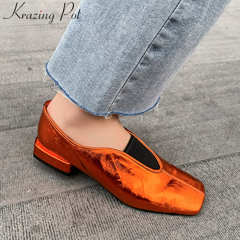 Krazing Pot Superstar Genuine Leather Square Toe Low Heels Women Pumps Slip On Shallow Elegant Classics Dress Spring Shoes L68