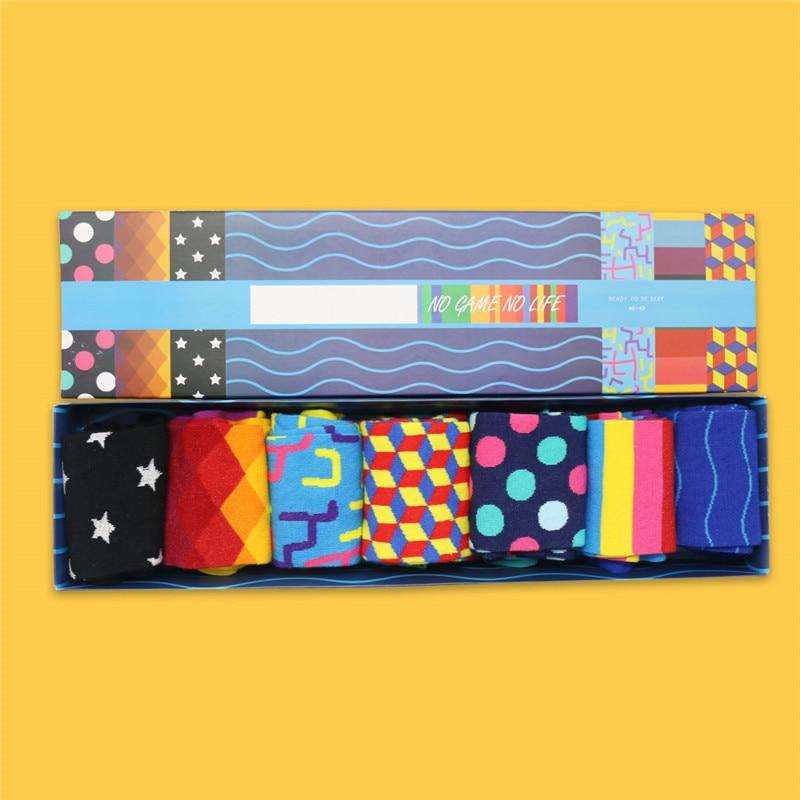 85% Combed Cotton Happy Socks Harajuku Colorful Cartoon Cute Funny Kawaii Space Socks Birthday Christmas Festval Gift Box