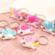 5pcs Rainbow Silicone Animal Unicorn Pegasus Keychain Mens And Womens Bags Jewelry Keyring Bag Decoration