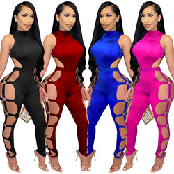 Cutubly Sexy Hollow Out Jumpsuit Solid Jumpsuits for Women Sleeveless Turtleneck Playsuit for Women Sexy Club Long Rompers