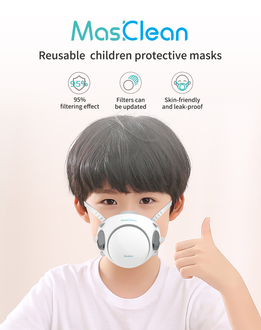 In Stock Abardeen Kids Mask Reusable Children's Mask Filter Anti PM2.5 Dust Masks Kids Mask Replaceable Filter