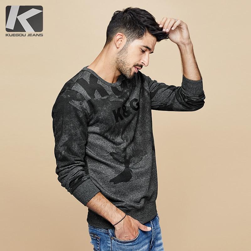 KUEGOU 2019 Autumn Cotton Black Print Letter Sweatshirts Men Fashion Japanese Streetwear Hip Hop Male Clothes Plus Size Top 4996