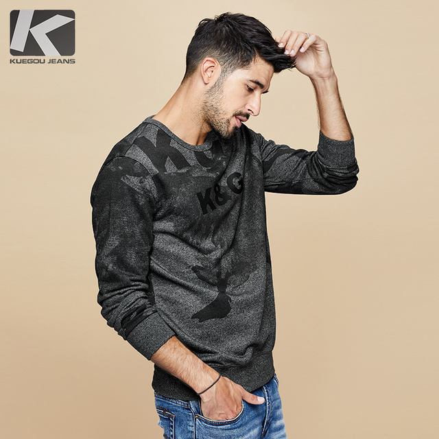 Kuegou 2020秋の綿の黒印刷文字スウェットメンズファッション日本ストリートヒップホップ男性服トップ4996