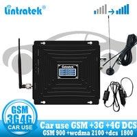 مكبر صوت لاستعمال السيارة من Lintratek مزود بشريط ثلاثي GSM 900 WCDMA 2100 LTE 1800 2G 3G 4G مقوي للإشارات هاتف خلوي GSM في السيارة