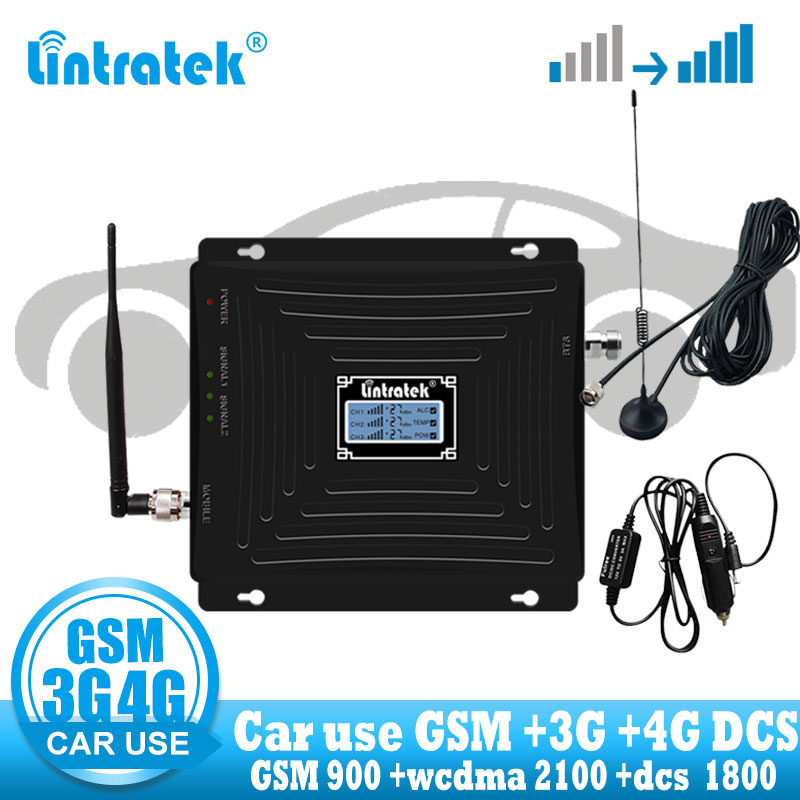 Lintratek Car Use Repeater Tri Band GSM 900 WCDMA 2100 LTE 1800 2G 3G 4G Signal Booster Cellphone Cellular GSM  Amplifier In Car