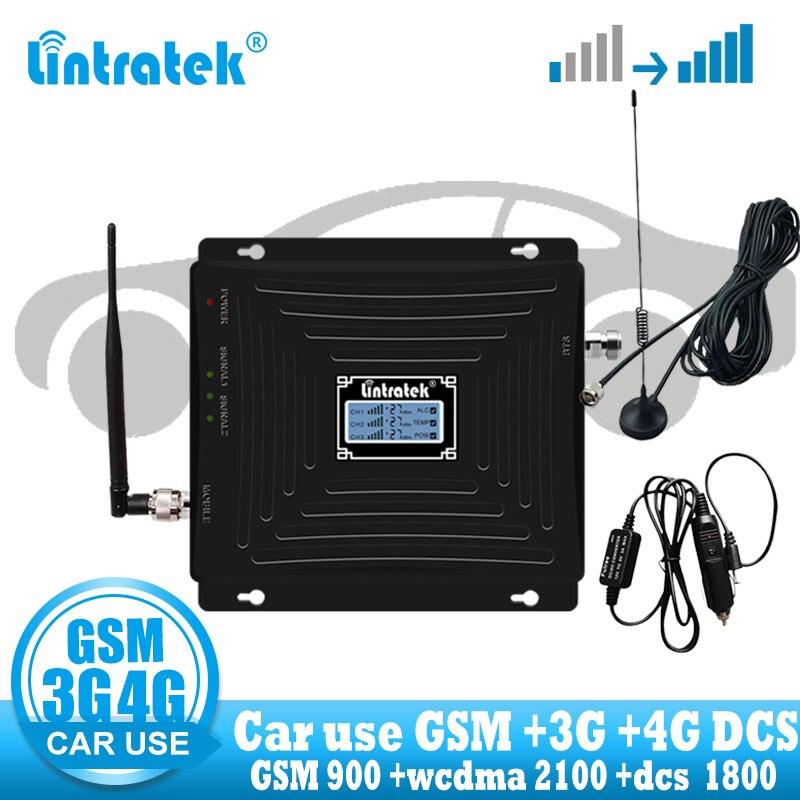 Lintratek uso do carro repetidor banda tri gsm 900 wcdma 2100 lte 1800 2g 3g 4g sinal impulsionador celular gsm amplificador no carro
