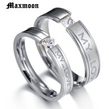 Maxmoon Engraved my Love Couple Rings Stainless Steel Engagement Wedding Rings for Men Women(China)