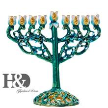 H&D Hand painted Hanukkah Menorah Jewish Lamp 9 Branch Jerusalem Temple Jewish Candle Holder Chanukah Candlesticks Decoration