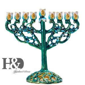 Image 1 - H&D Hand painted Hanukkah Menorah Jewish Lamp 9 Branch Jerusalem Temple Jewish Candle Holder Chanukah Candlesticks Decoration