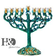 H & D มือวาด Hanukkah Menorah ชาวยิว 9 สาขา Jerusalem Temple ชาวยิวเทียน Chanukah เชิงเทียนตกแต่ง