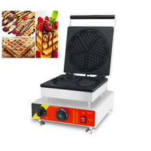 лучшая цена Commercial Electric Heart-shape Waffle Machine Stainless Steel Cake Maker 5 Moulds Non-stick Cooking Surface 220V 110V CE