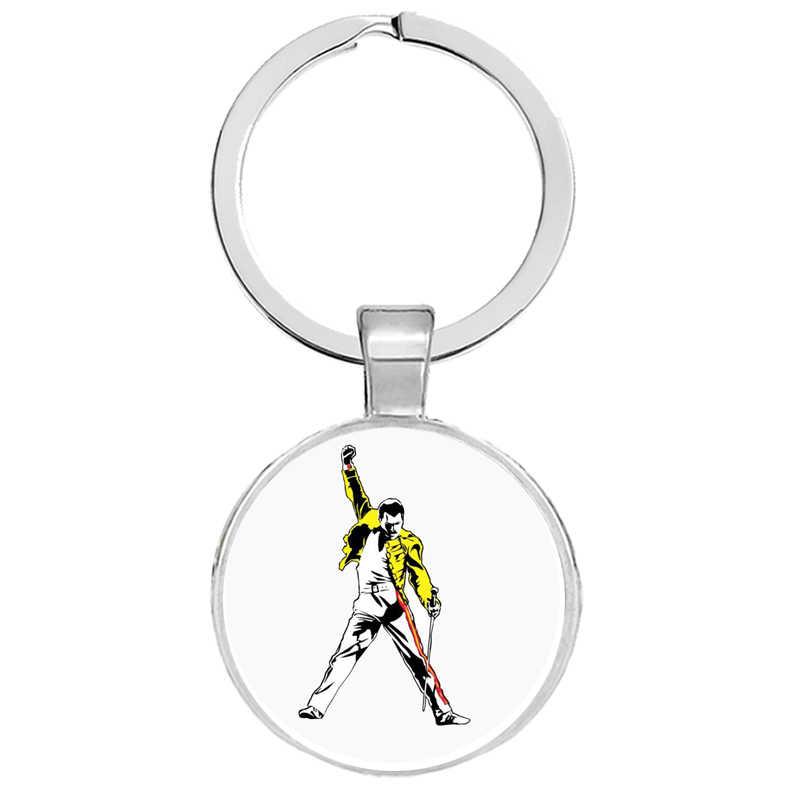 นักร้องเพลง Art Freddie MERCURY พวงกุญแจกุญแจรถ Keychain แหวนโลหะเคลือบเครื่องประดับแฟนของขวัญ