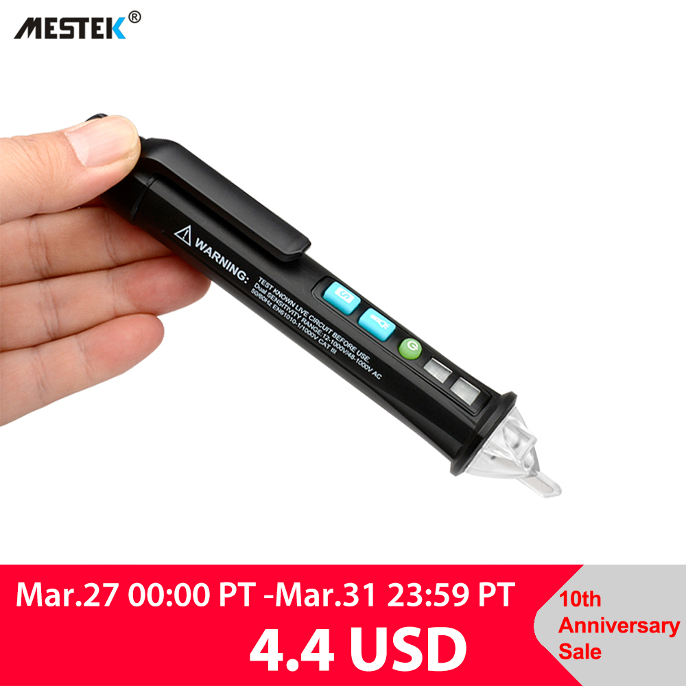 MESTEK Non contact AC Voltage Detector Tester Meter 12V 1000v Pen Style Electric Indicator LED Outlet Voltage Dectetor Sensor|Voltage Meters| |  - title=