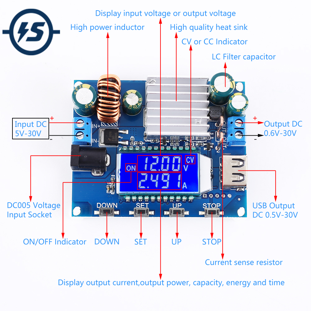 Adjustable Automatic Step UP DOWN Voltage Converter LCD Display DC-DC 5V 12V 24V Buck Boost Power Supply Module 35W 4A CVCC